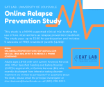 A graphic with a blue background and orange accents that provide information about the study, the eligibility criteria, and how to register for the study.